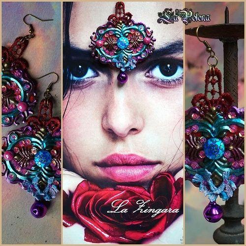 https://flic.kr/p/D2bPsR | LA ZINGARA earrings | hand beaded dangle Bohemian brass earrings, hand dyed vintage lace, strass, sequined textile, purple bells - Christmas version.