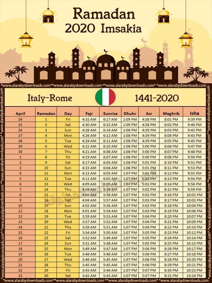 تحميل امساكية رمضان 2020 روما ايطاليا تقويم 1441 Ramadan Imsakia Rome Italy Ramadan Day Ramadan Rome