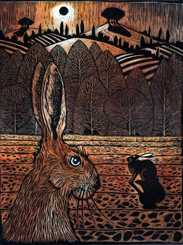 'Two hares' by Ian MacCulloch (linocut)