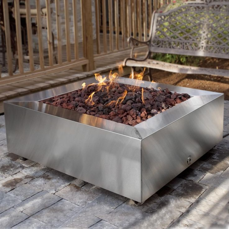 fire pit with natural gas 42 inch stainless steel square fire pit