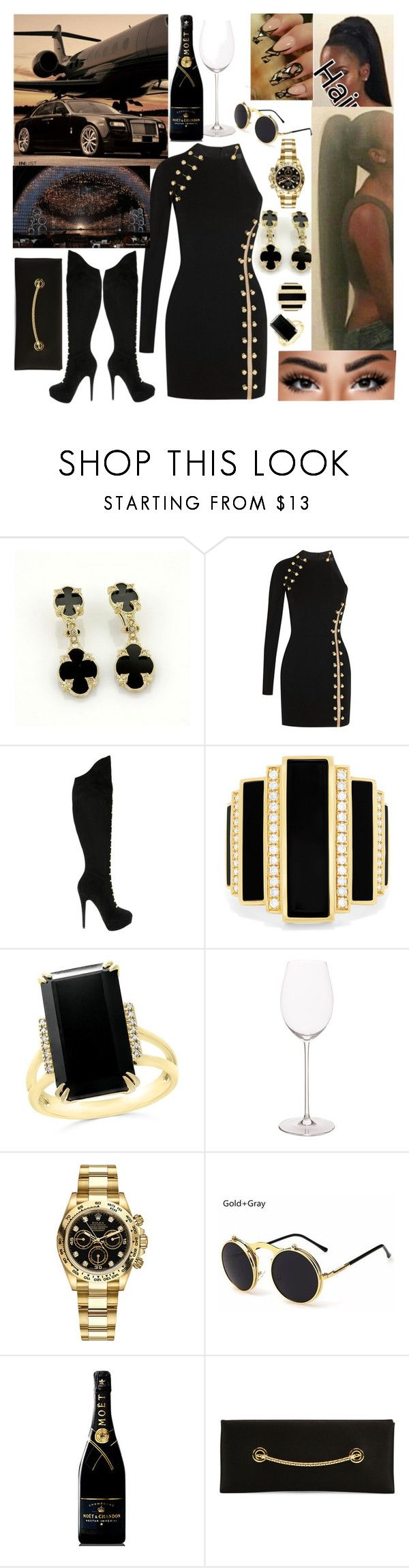 """Superstar"" by goodgirldeja ❤ liked on Polyvore featuring Judith Ripka, Versus, Charlotte Olympia, Effy Jewelry, Bloomingdale's, Riedel, Rolex, MoÃ«t & Chandon and Tom Ford"