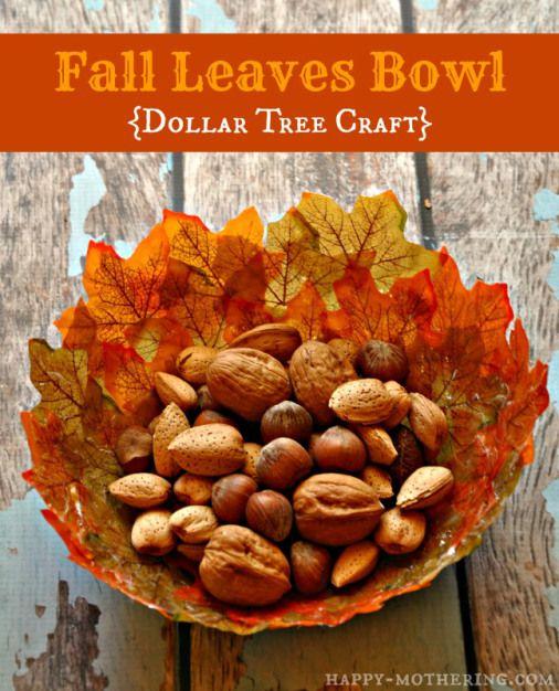 DIY Fall Leaves Bowls {Dollar Tree Craft} - Happy Mothering