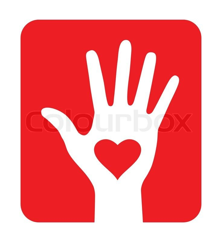 Stock vector of 'Hand with heart icon on red background, vector illustration'
