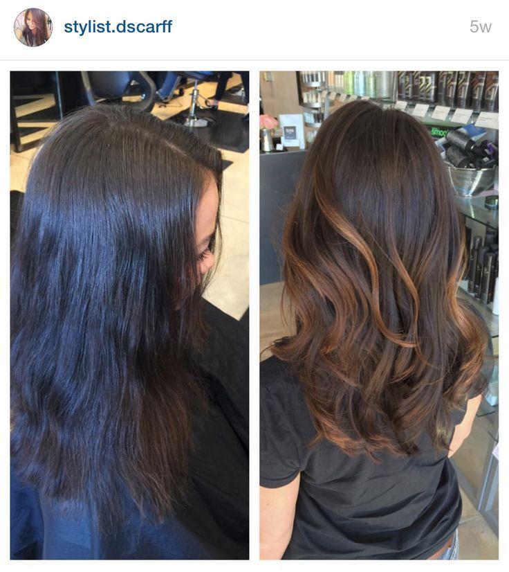 Tess Boyer. Sombre. Carmel hair. Carmel highlights. Long hair. Dark hair. IG stylist.dscarff
