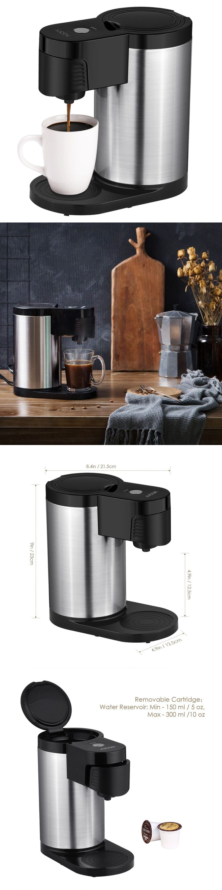 Single Serve Brewers 156775: Aicok Single Serve Coffee Maker, Stainless Steel Coffee Machine Quick Brew -> BUY IT NOW ONLY: $33.99 on eBay!