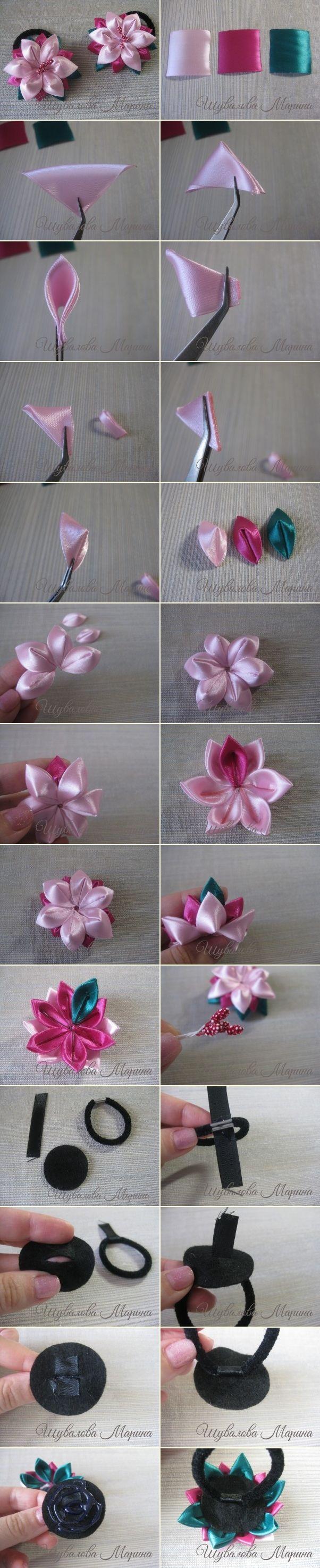 Цветы из атласных лент в технике канзаши.