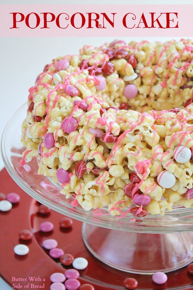 Caramel Marshmallow POPCORN Cake! Such a fun idea!  Butter With a Side of Bread