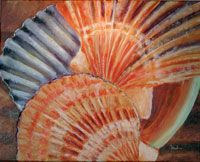 """""""Sea Shells"""" :    I like to get up close and personal with my subject matter. This painting of Sea shells was done in Acrylic mainly with my fingers to get the amazing texture in the crustacean. """"Seas shells"""" is available for sale as both original art or prints at http://www.fontainefineart.com/Seashells.shtml"""