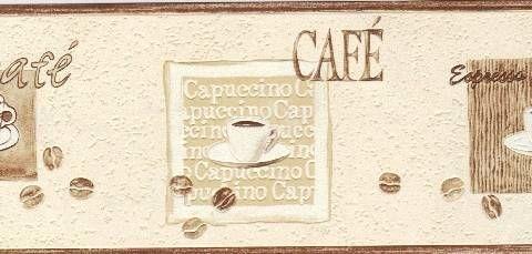 Kitchen borders rasch express cafe cream beige kitchen for Beige kitchen wallpaper
