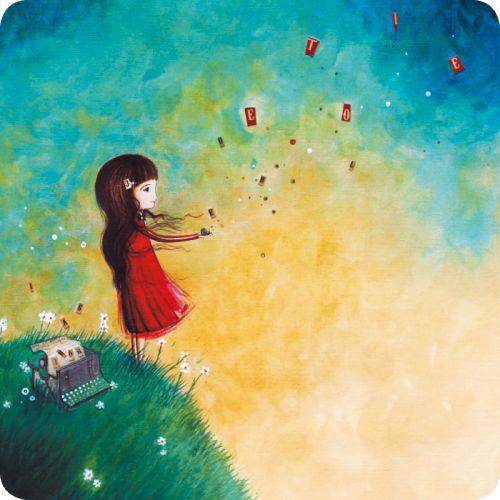 """Jehanne Weyman carte postale carrée (14 cm) """"Les lettres au vent"""""""