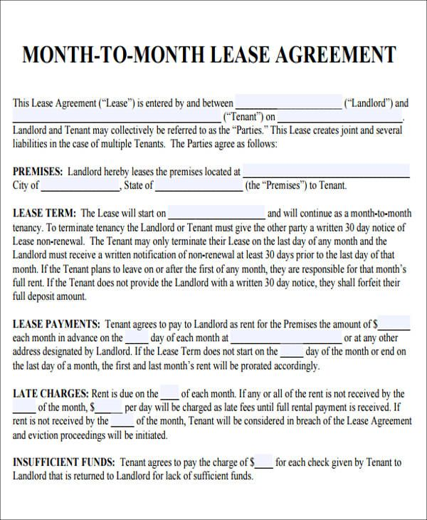 Month To Month Lease Agreement Lease Agreement Rental Agreement Templates Agreement