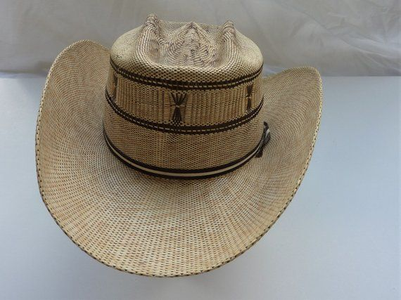 An Awesome Koko Kooler Vintage 1950s Straw Cowboy Hat Size 7 1 4 Light And Dark Weave With Gold Lurex Ft Worth Style Great Crease Western Cowboy Hats Straw Cowboy Hat Vintage Western Wear