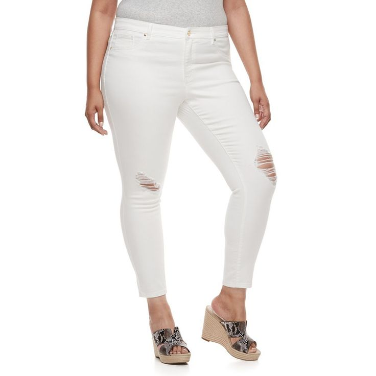 Plus Size Jennifer Lopez Destructed Super Skinny Jeans, Women's, Size: 20 W, White
