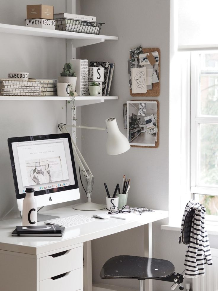 A light summer workspace with Design Letters with hints of soft grey and green and monochrome accents   Bright, light, white Scandinavian inspired interior design ideas