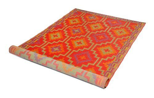 Fab Habitat 4-Feet by 6-Feet Lhasa Indoor/Outdoor Rug with Non-Slip Backing, Orange and Violet by Fab Habitat - Fab Rug. $68.00. Non-slip backing keeps rug in place. Actual colors may vary from the image(s) shown due to manufacturing limitations; Made from Multicolored Straws: Predominantly orange and violet, but made of red, yellow, and blue-colored plastic tubes. Woven from straws made up of recycled plastic. Suitable for indoor use. Easy to clean - Wipe with a damp cloth....