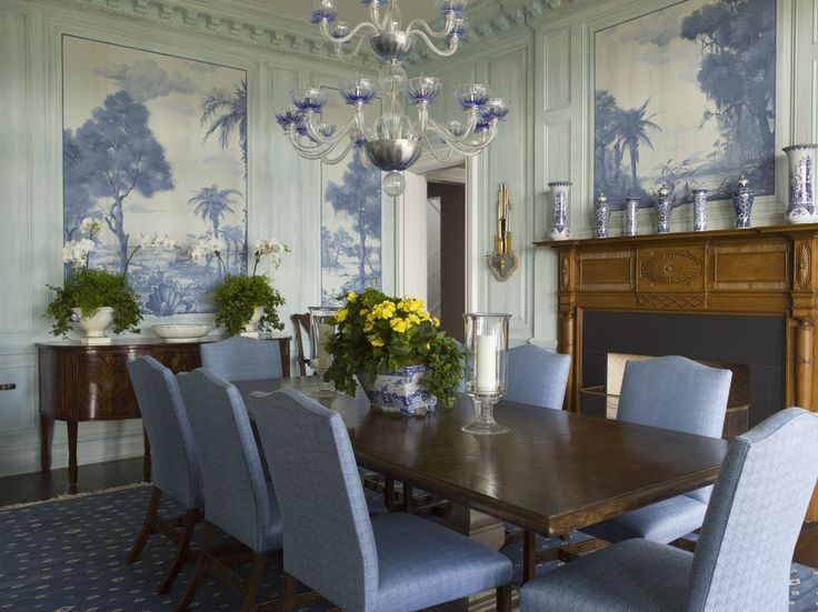 Blue Dining Room Murals Wall Decor Eclectic Home Ideas Classic Design