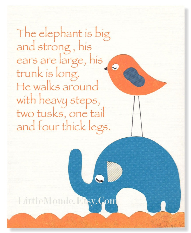 The Elephant Poem 8x10 Quot Personalized Nursery Print Baby