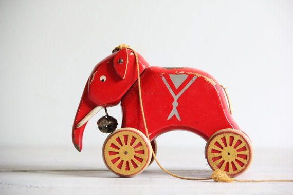 vintage french elephant pull toy  brio by wretchedshekels on Etsy, $29.00