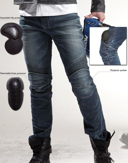 UGLYBROS FEATHERBED 201 Motorcycle Pants • Adjustable Hem zipper • 12oz stretched denim • Elastic shirring knee & waist-lower back panels • CE approved Removable knee & hip protectors included • YKK® Zipper • POWERTECT