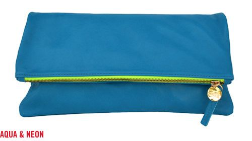 Want this giant foldover clutch - perfect for throwing into my work bag during the day then pulling out for HH or a night out.Neon Zippers, Aqua Leather, Handbags Galore, Style Inspiration, Neon Green, Clutches Bags, Clutch Bags, Clare Vivier, Foldover Clutches