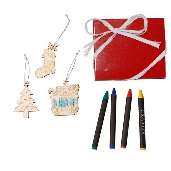 regalos para navidad detalles navideos set colgantes en madera para colorear incluye