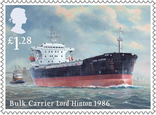 Royal Mail £1.28p postage stamp featuring the Merchant Navy ship the Bulk Carrier Lord Hinton, 1986