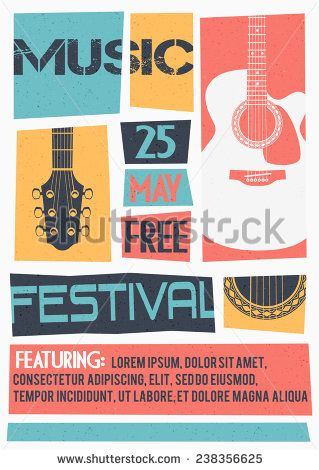 Vector template for a concert poster or a flyer featuring an acoustic guitar. - stock vector