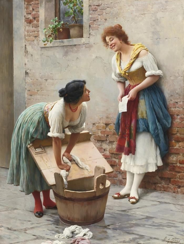 De Blass paintings of women doing everyday work, portrays them in a really beautiful grace style, that is very  powerful.