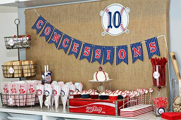 Cute Concession stand at a baseball party by B. Lovely Events