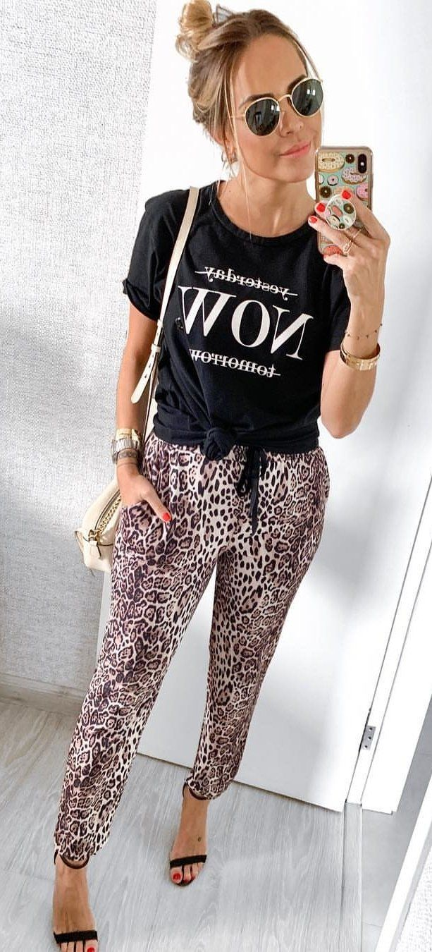 black and white crew-neck t-shirt #spring #outfits