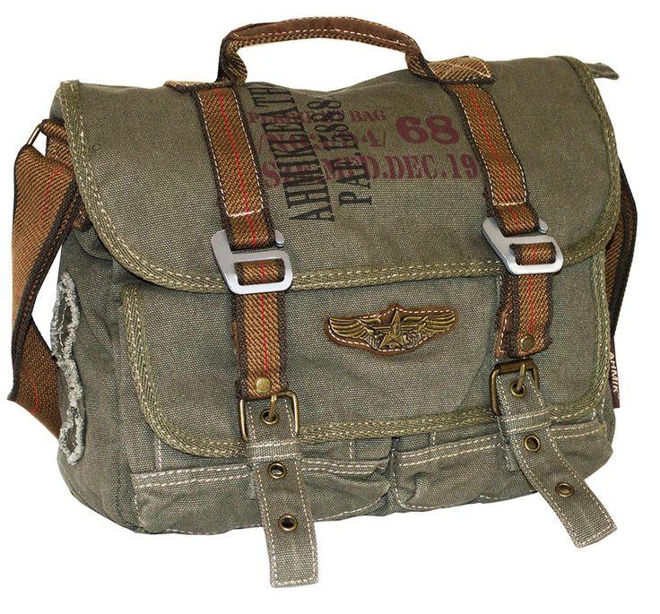 Military Vintage Canvas Over The Shoulder Messenger Bag - Larger #serbags #vintagebag