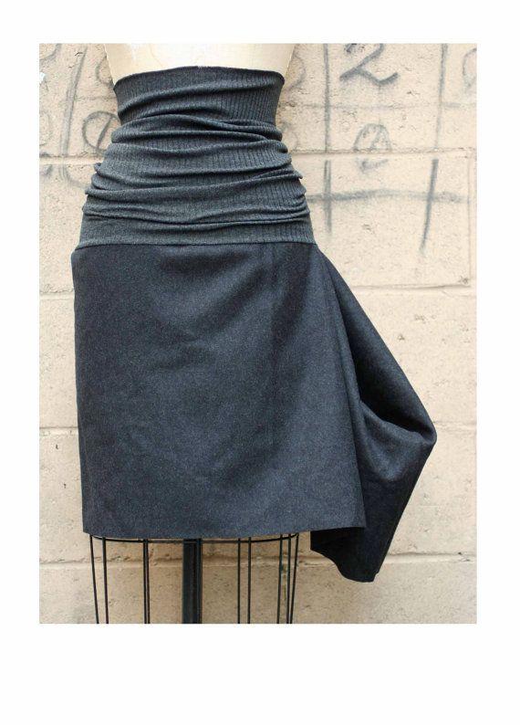 Autumn Fashion Black Wool Felt and Gray Rib Knit Skirt by artlab, $90.00