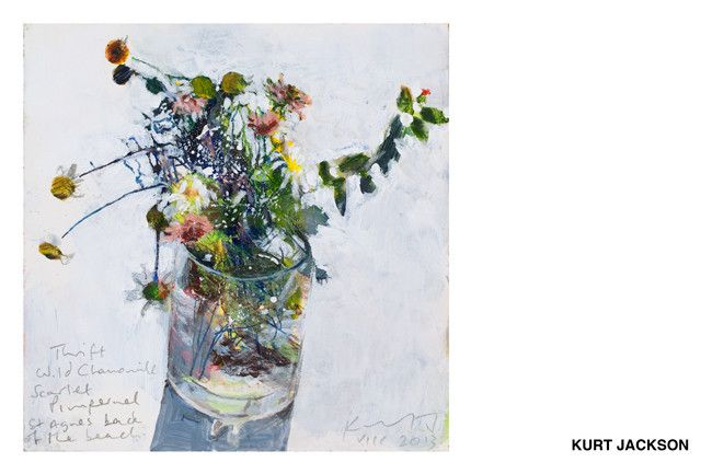 Thrift, Wild Chamomile, Scarlet Pimpernel, St Agnes, acrylic on board, 2013, by Kurt Jackson