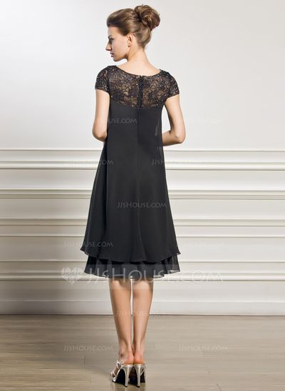 Empire Scoop Neck Knee-Length Beading Sequins Zipper Up Sleeves Short Sleeves No 2015 Black General Plus Chiffon Mother of the Bride Dress