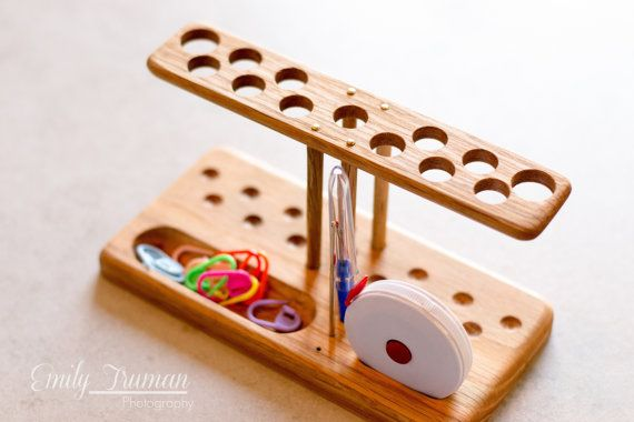 Wood crochet hook stand and notions holder, could be used for straight knitting needles too, I think | Chetnanigans Etsy shop