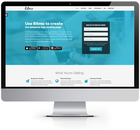 Ritmo - Mobile App Landing Page HTML5 Template Preview