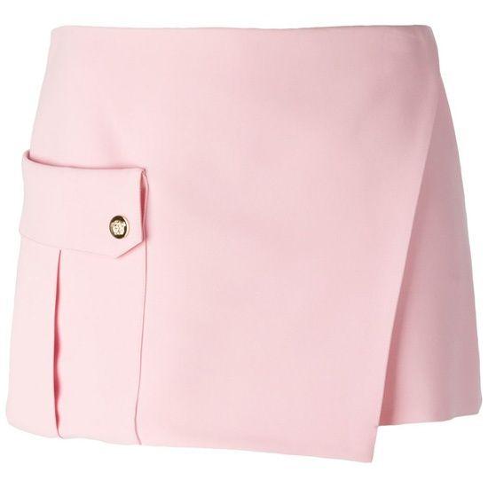 Юбка-шорты светло-розовая шелковая с запахом и большим накладным карманом  Бренд: Versace Цена: 29,800.00 руб. Где купить: Versace