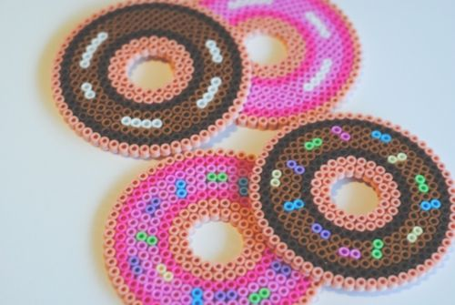 fuse beads strawberry & chocolate frosted doughnut coasters by pop that cassette! sprinkled or non sprinkled!~ etsy | facebook