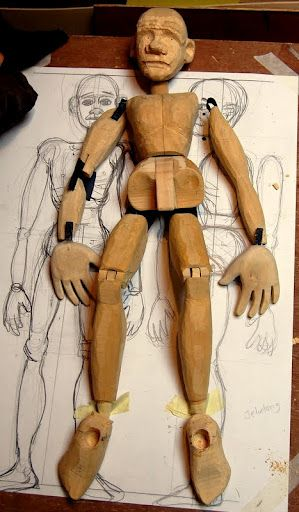 Jointed wooden puppet (unfinished) made by Jonny Dixon on the John Roberts carving course at the Little Angel Theatre, London in July 2012.