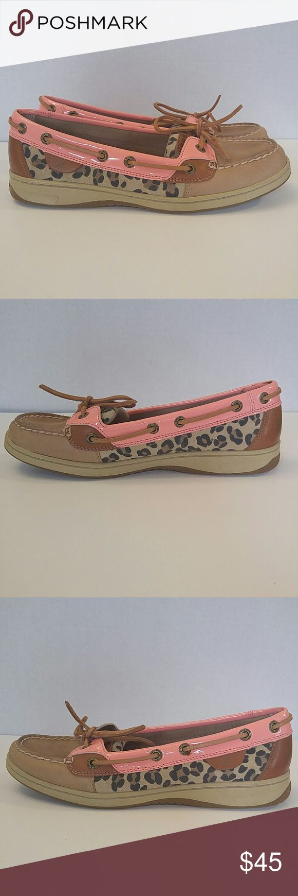 Sperry Angelfish Topsider Excellent condition ( worn once ) Sperry Angelfish Topsider. Linen/Peach Pink/Leopard Sperry Top-Sider Shoes Flats & Loafers