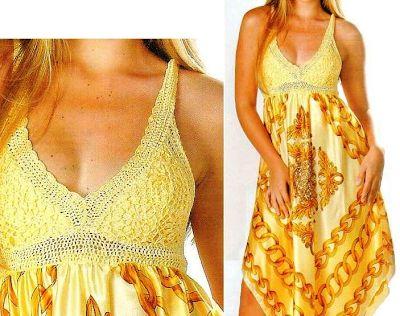 Patrones Crochet: 2 Vestidos Mezcla Crochet y Tela