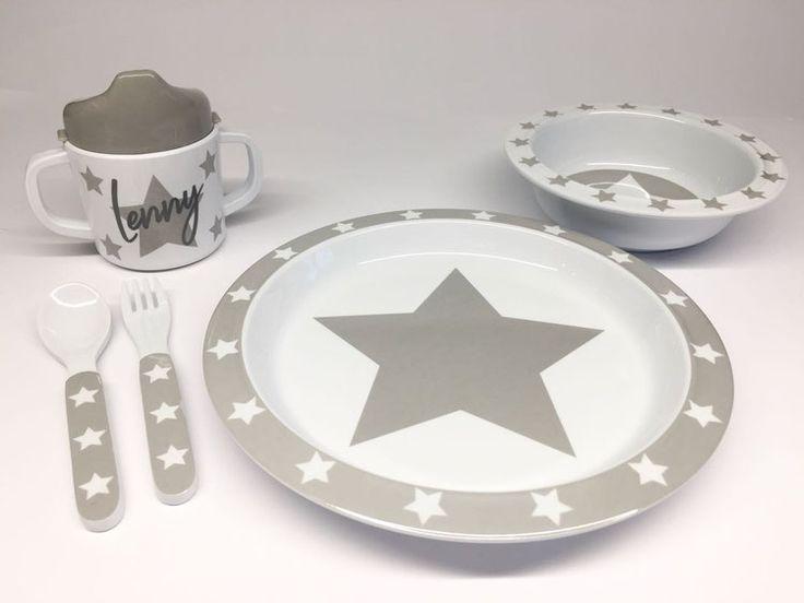 Pimpalou Melamin Kindergeschirr-Set Sterne grau/weiß 5-teilig personalisierbar