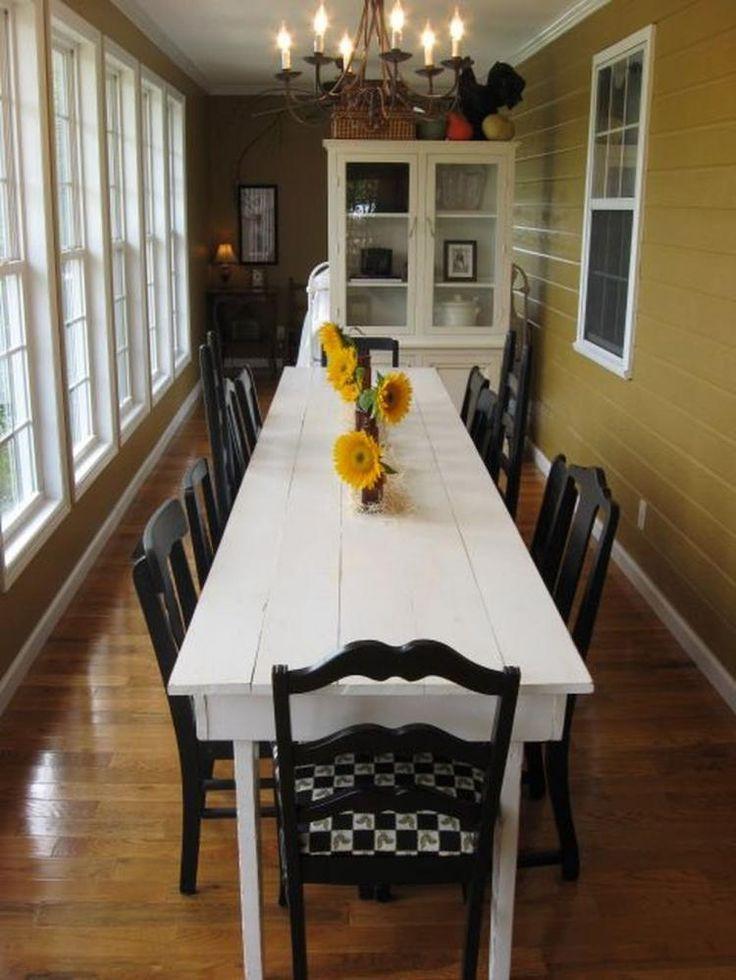 Elegant White Farmhouse Dining Table Ideas Narrow dining