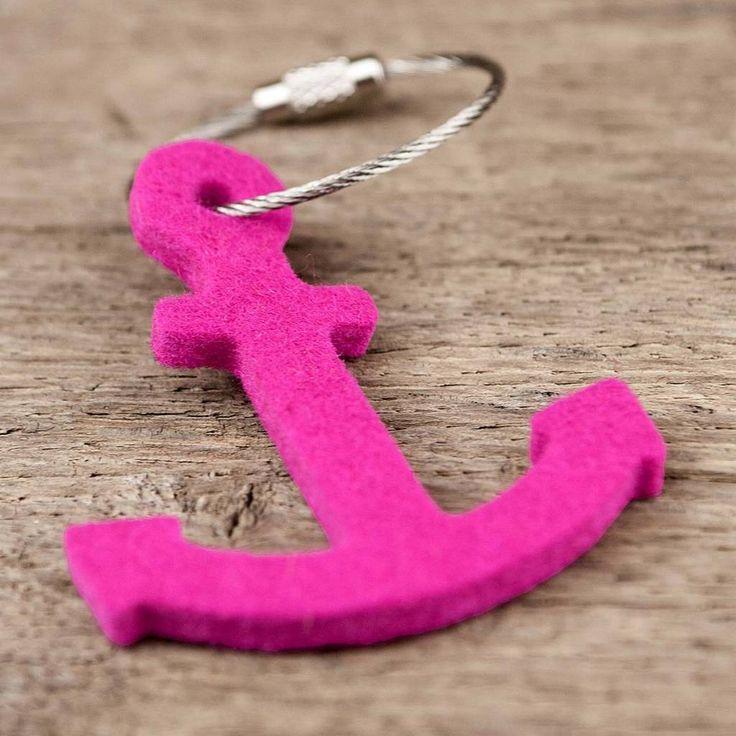 Filz #Schlüsselanhänger #Anker, #pink mit Stahlseil, #anchor #keychain