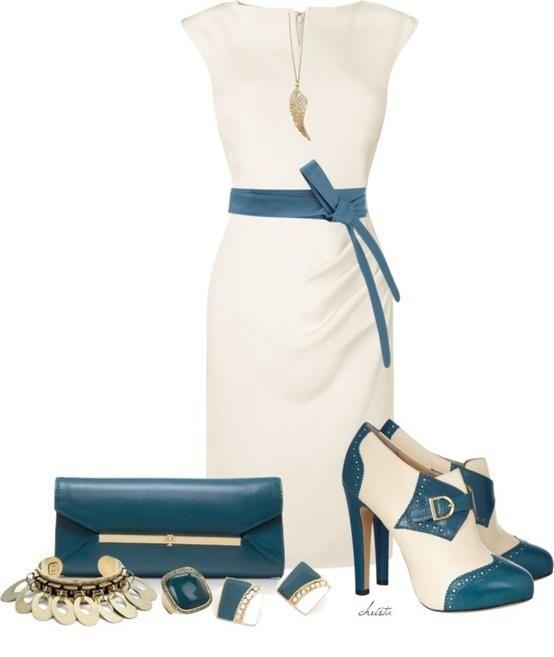 Koktejlové šaty - biele s modrými doplnkami