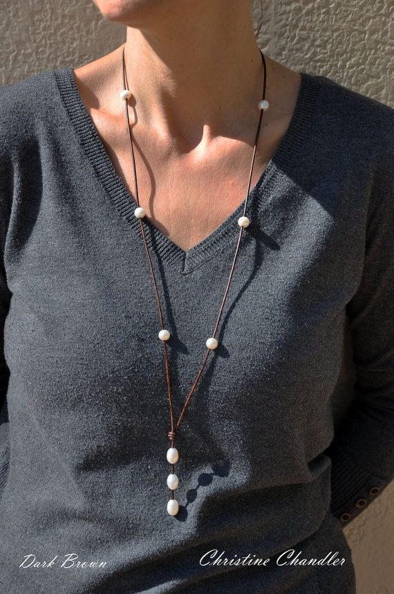 Long Pearl and Leather Necklace Leather and by ChristineChandler