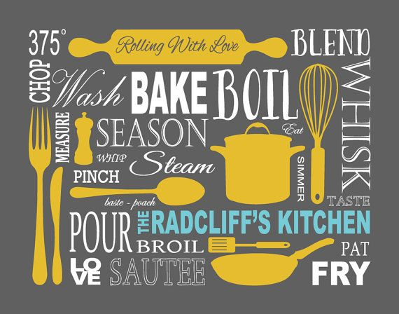 """Kitchen Art Personalized Prints - Subway Art and Utensils - Shades of Grey and Yellow 11"""" x 14"""" Modern Kitchen Gift Guide"""