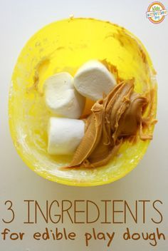 play dough made from peanut butter and marshmallows - fully edible and SUPER easy to make
