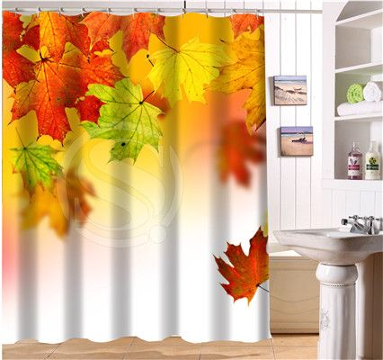 WJY425Y4 Custom The beautiful autumn maple leaves Fabric Modern Shower Curtain bathroom Waterproof  XY4