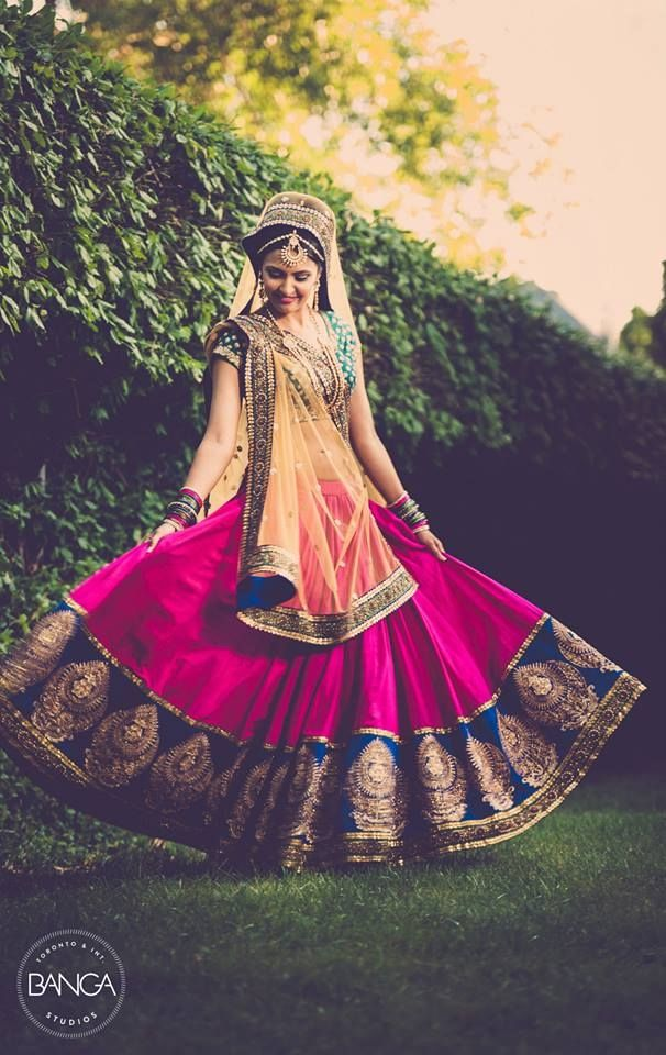Beautiful Vibrant Bridal #Lehenga | Banga Photography | www.ShaadiBelles.com #Desi